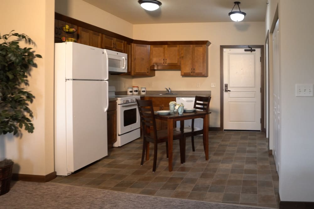 Kitchen alcove at the entrance to a senior apartment Deephaven Woods in Deephaven, Minnesota