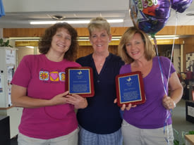 Caregivers from Chestnut Knoll at Home in Gilbertsville, Pennsylvania holding their awards