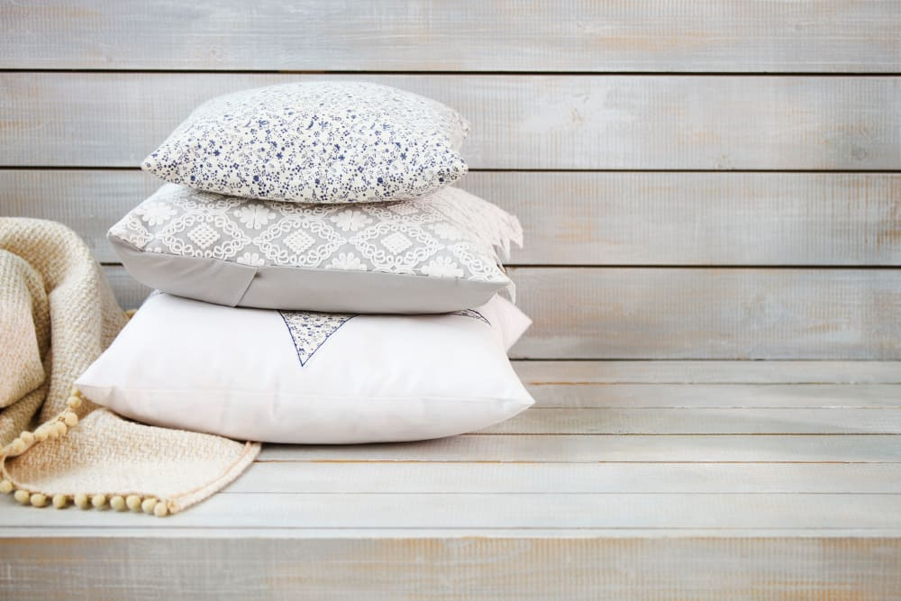 Pillows on a bench at Crestview Apartments in Auburn, California