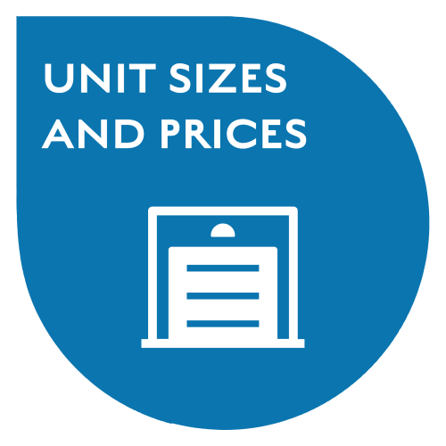 Airport Road Storage in Monterey, California, unit sizes and prices callout