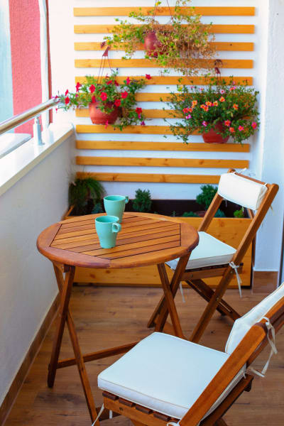 Private patio at The District Flats in West Palm Beach, Florida