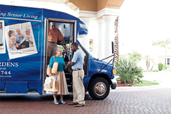 Senior living transportation at Discovery Commons At Spring Creek in Garland, Texas