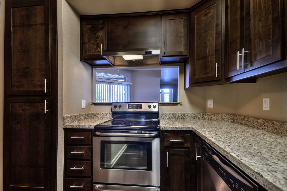 Beautiful, gourmet kitchen in a model home at Larkspur Woods in Sacramento, California