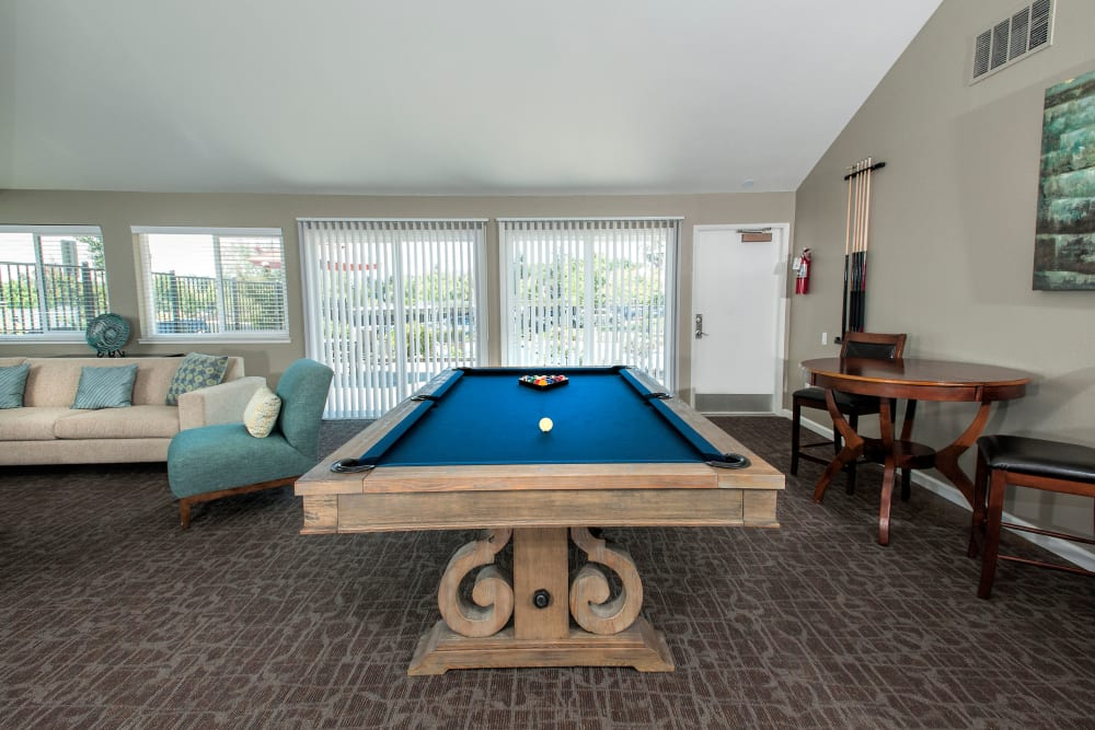 A pool table in a community entertainment room at Ridgecrest Apartment Homes in Martinez, California
