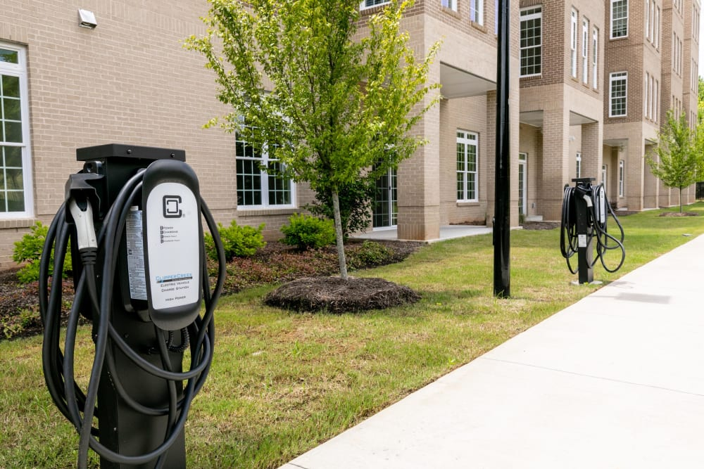 Electric vehicle charging stations at The Station at River Crossing in Macon, Georgia