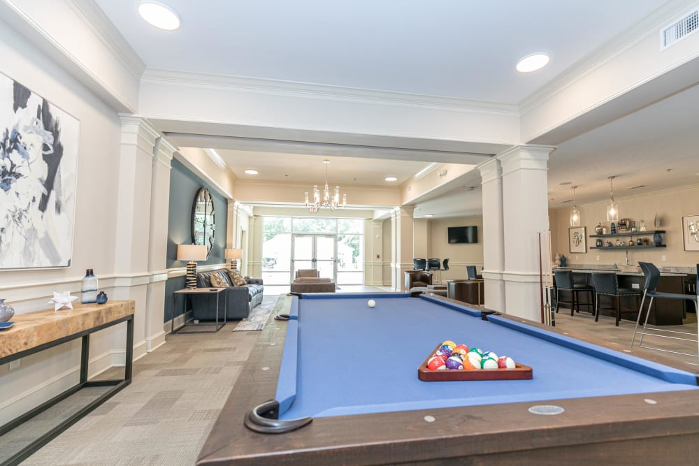 Billiards table in the clubhouse lounge at The Station at River Crossing in Macon, Georgia