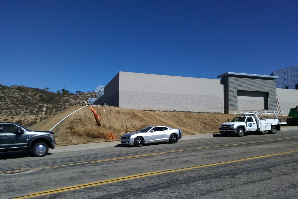 Street view of Silverhawk Self Storage construction.