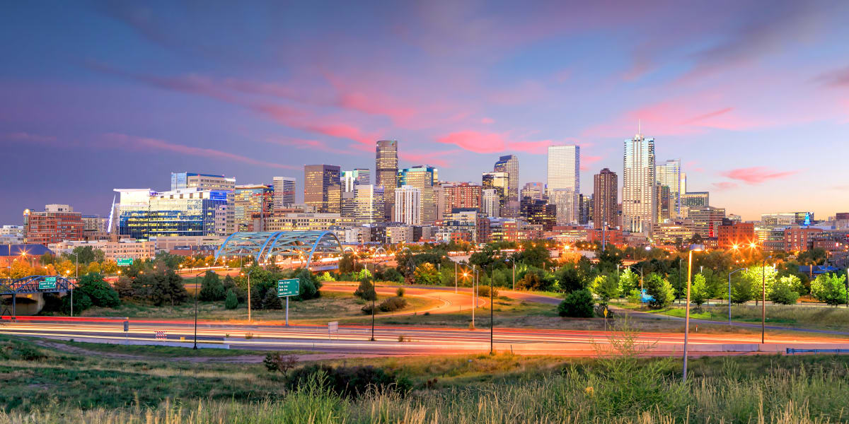 Gorgeous city skyline near The Alcott in Denver, Colorado