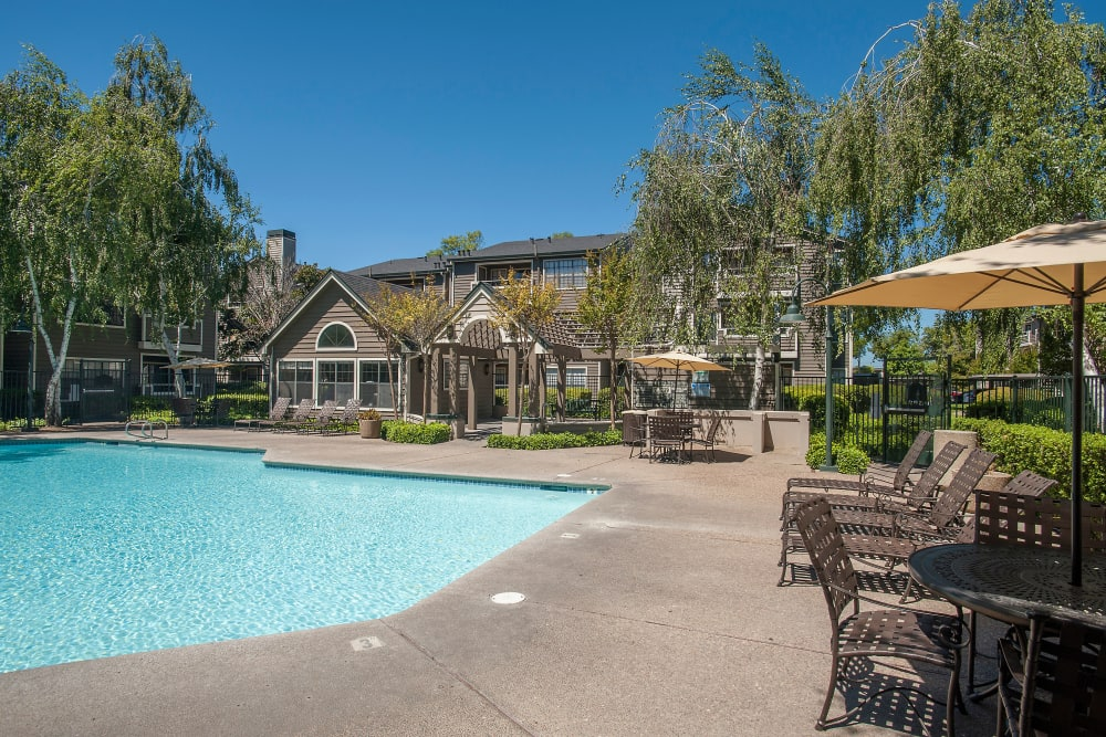 Sundeck with a umbrellas for shade at The Reserve at Capital Center Apartment Homes in Rancho Cordova, California