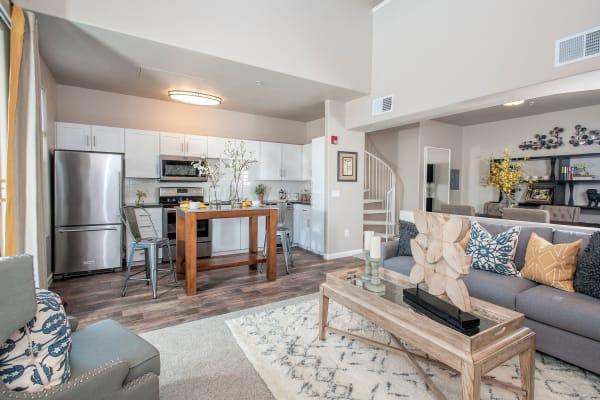 Spacious modern living room at Venu at Galleria Condominium Rentals in Roseville, California
