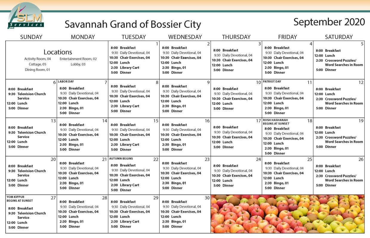 View our monthly calendar of events at Savannah Grand of Bossier City