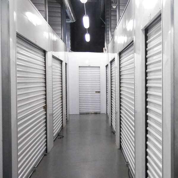 Brightly lit interior units at StorQuest RV/Boat and Self Storage in Indio, California