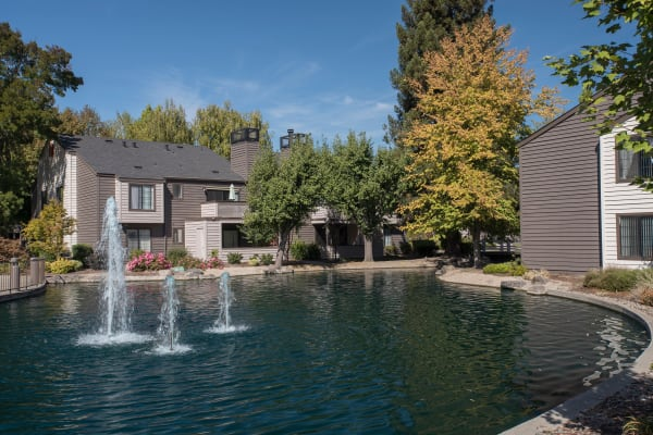 Water fountain in the middle of a pond at Hidden Lake Condominium Rentals in Sacramento, California