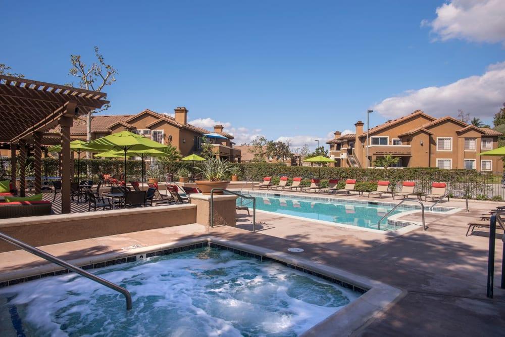 Resort-style swimming pool at Paloma Summit Condominium Rentals in Foothill Ranch, California