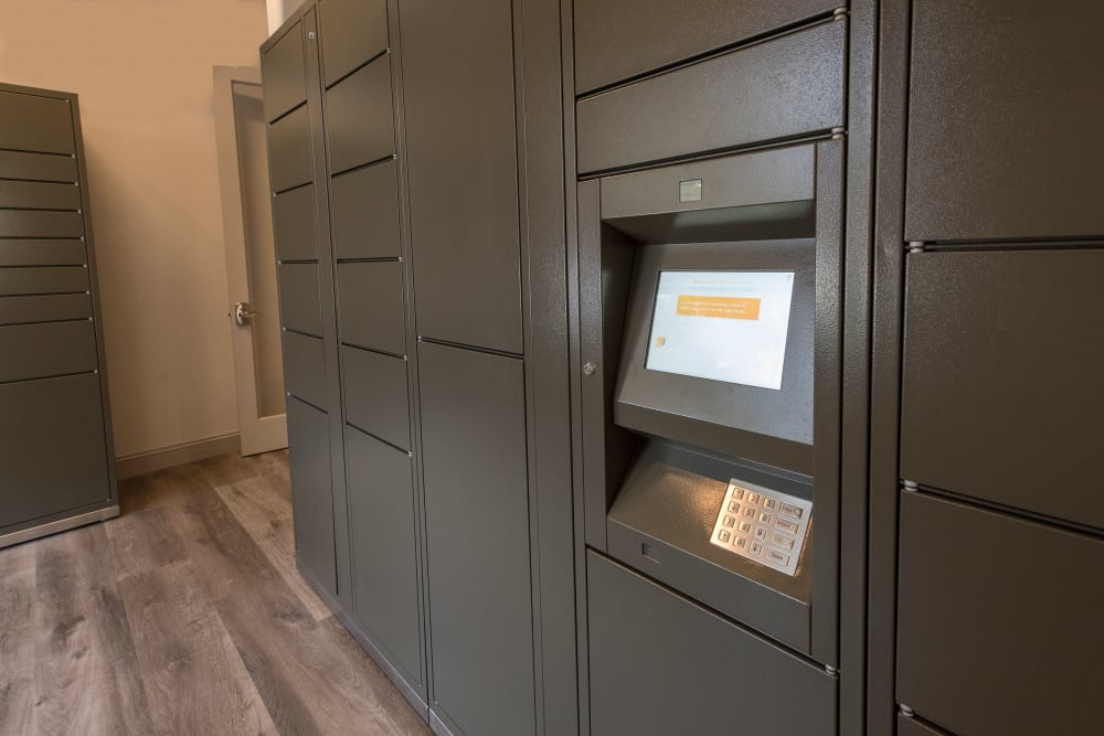 Package locker at Venu at Galleria Condominium Rentals in Roseville, California