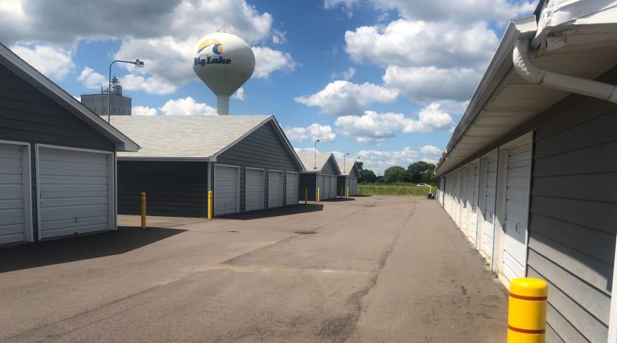 Exterior view of storage units with white doors at KO Storage of Big Lake in Big Lake, Minnesota