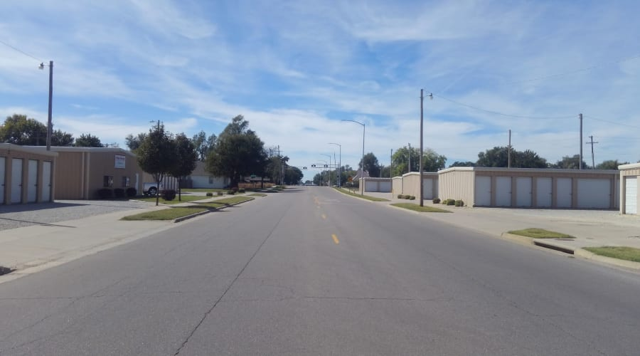 A street with storage units on either side at KO Storage of Hutchinson in Hutchinson, Kansas