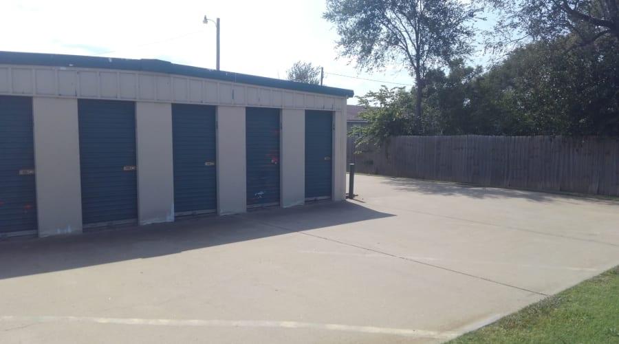 Storage units with blue doors at KO Storage of Salina - Beverly in Salina, Kansas