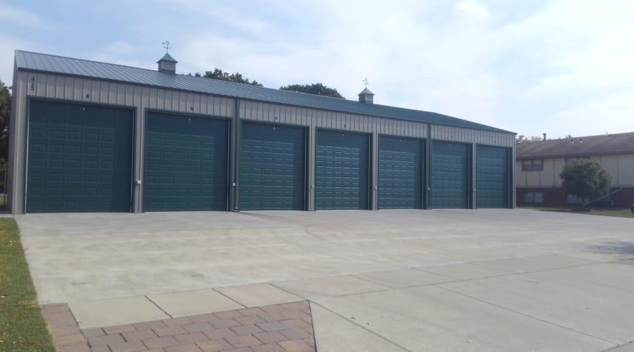 Exterior of outdoor units with tall doors at KO Storage of Salina - Centennial in Salina, Kansas
