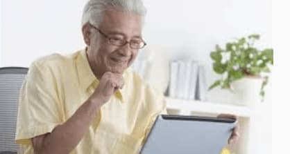 Man doing research of senior living communities
