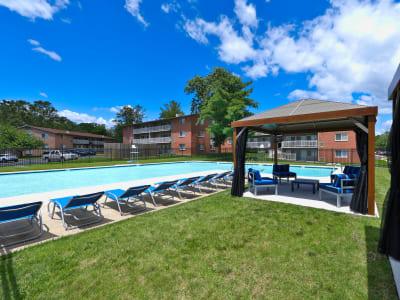 Beautiful swimming pool at apartments in Laurel, MD