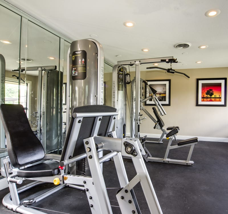 Plenty of exercise equipment in the onsite fitness center at Santana Ridge in Denver, Colorado