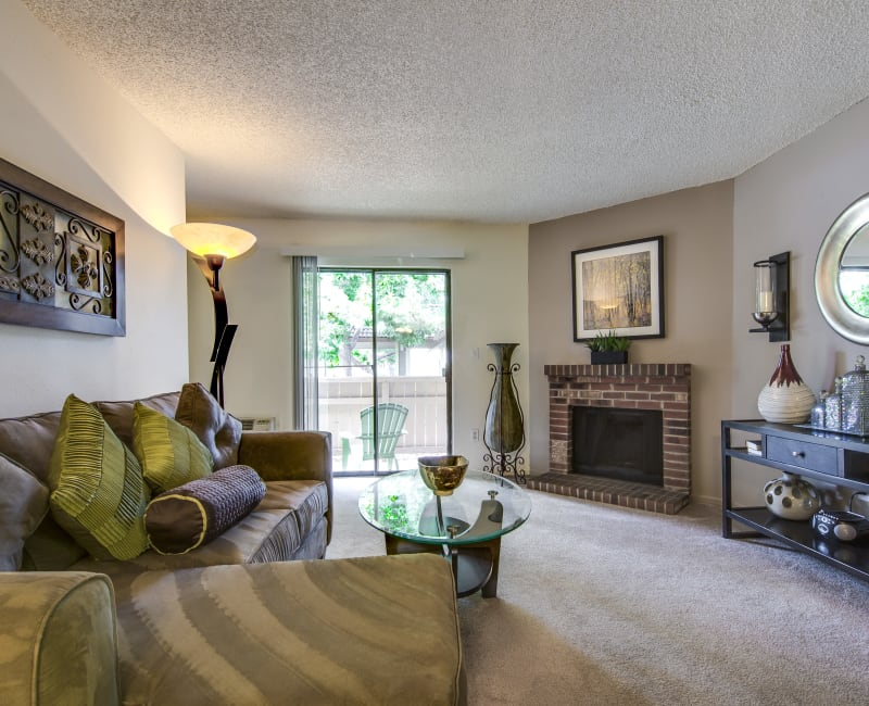 Comfortably decorated living area in a model home at Santana Ridge in Denver, Colorado