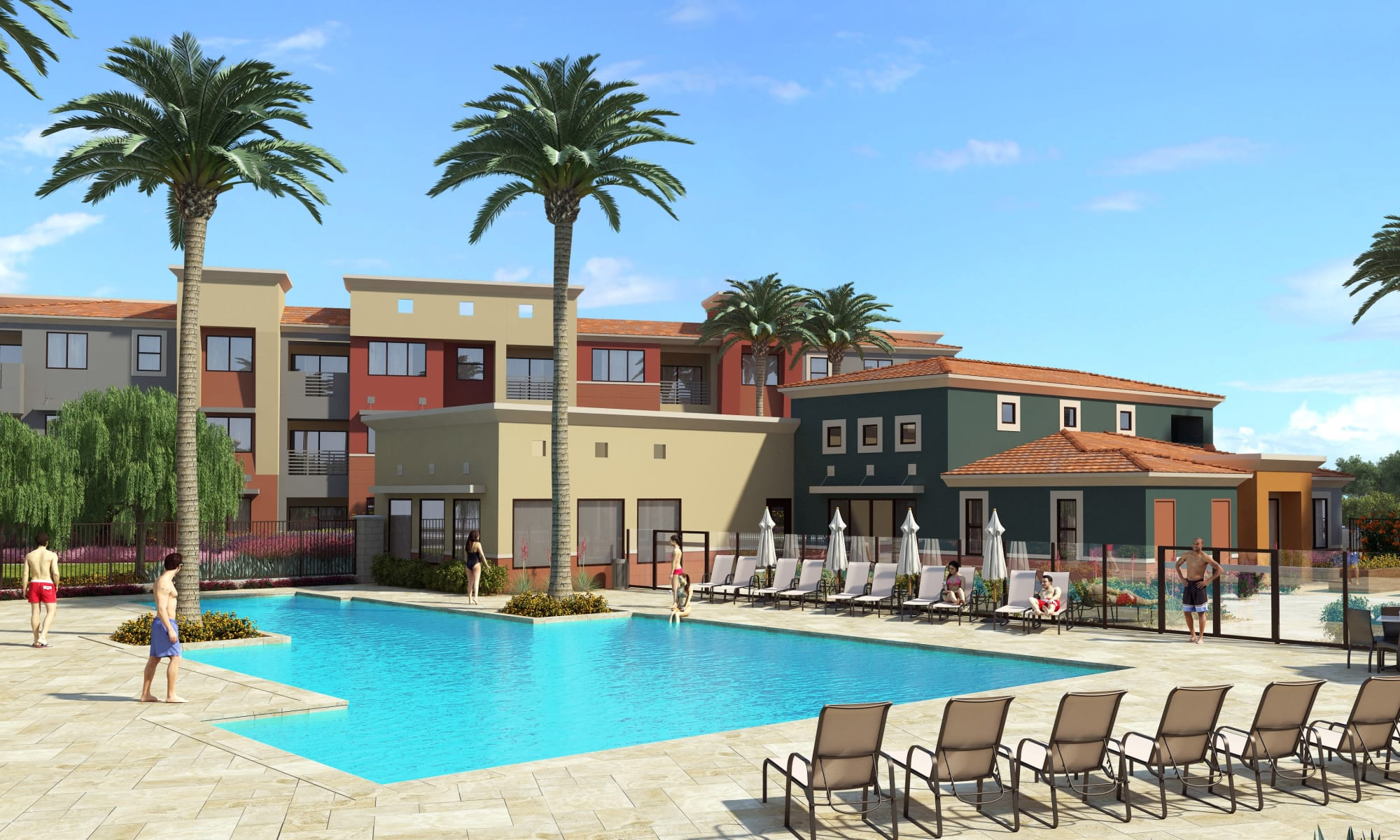 Render of the swimming pool at Villa Vita Apartments in Peoria, Arizona