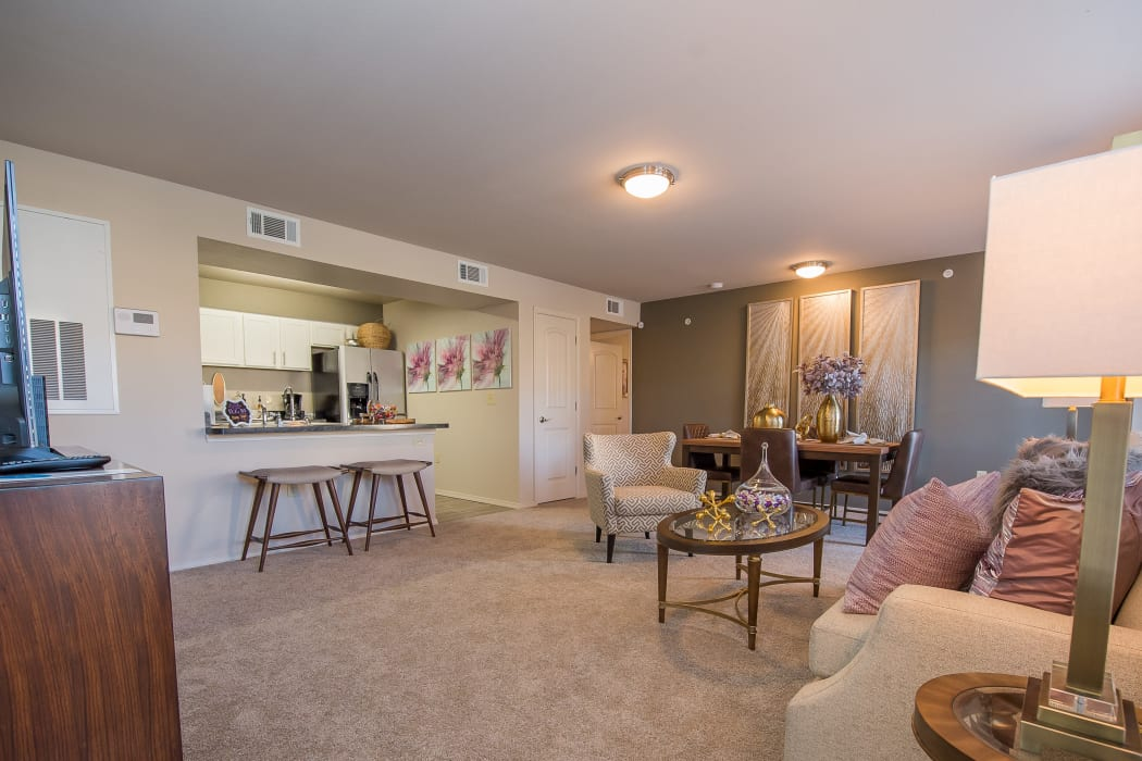Living room at Portico at Friars Creek Apartments in Temple, Texas