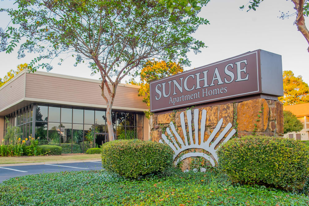 Front sign at Sunchase Apartments in Tulsa, Oklahoma