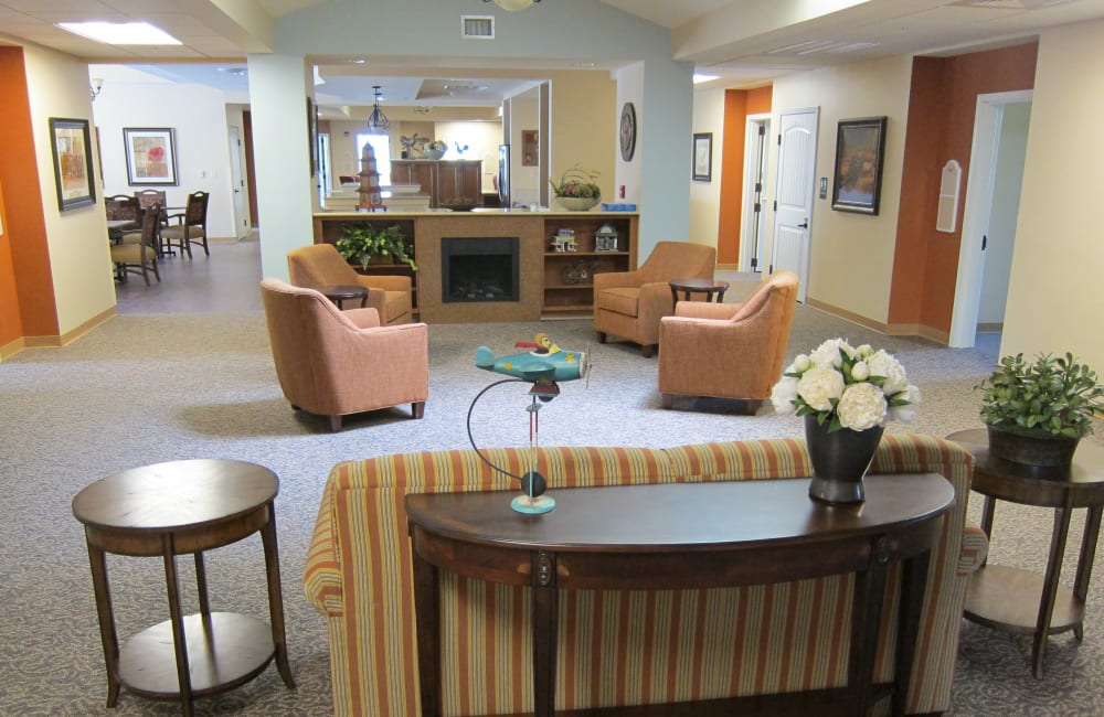 memory care common room at Touchmark on West Century in Bismarck, North Dakota