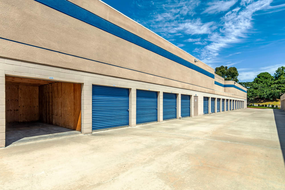 Wide drive aisles at Mira Mesa Self Storage