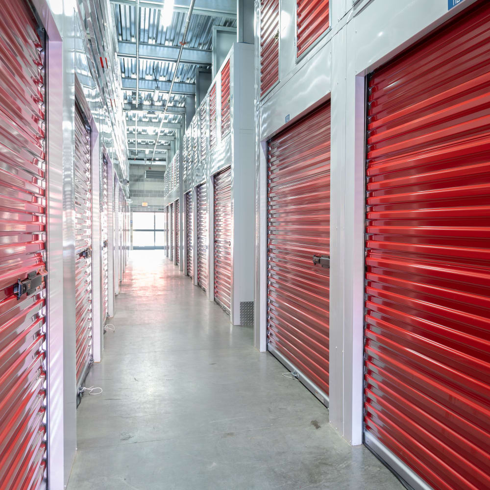 Clean and modern storage units with doors closed at Trojan Storage of Commerce in Commerce, California