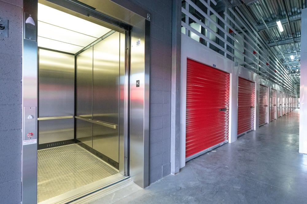 Accessible elevators at Trojan Storage in San Jose, California