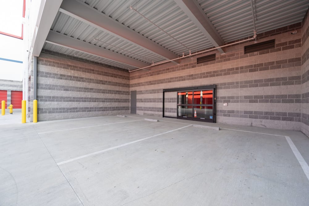 Covered parking area outside entrance to Trojan Storage of Commerce in Commerce, California