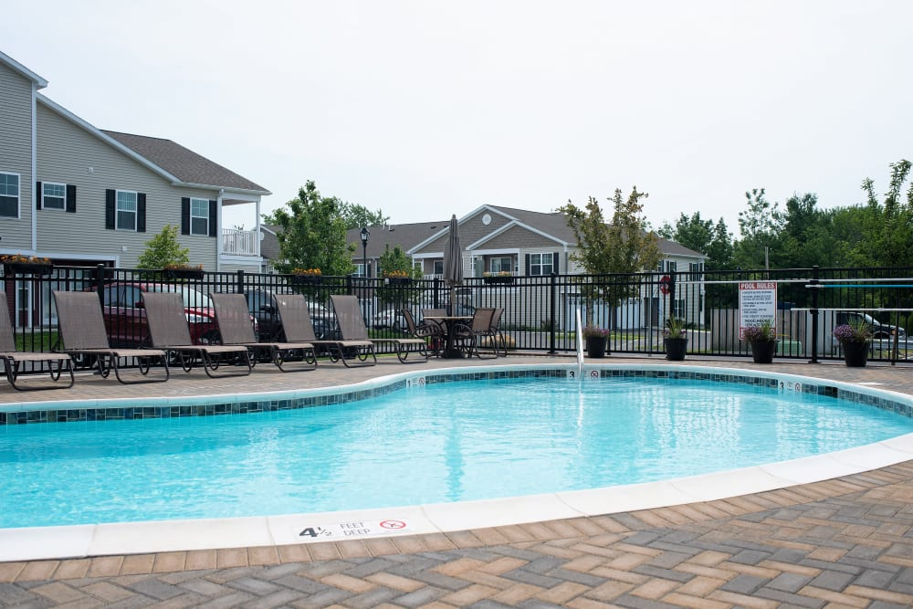 Sparkling swimming pool at Hampton Run in Glenville, NY