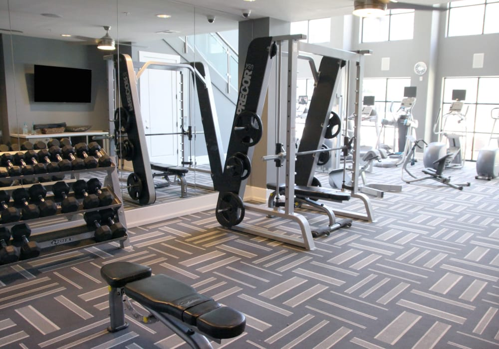 Fitness center at Axis at Wycliff in Dallas, Texas
