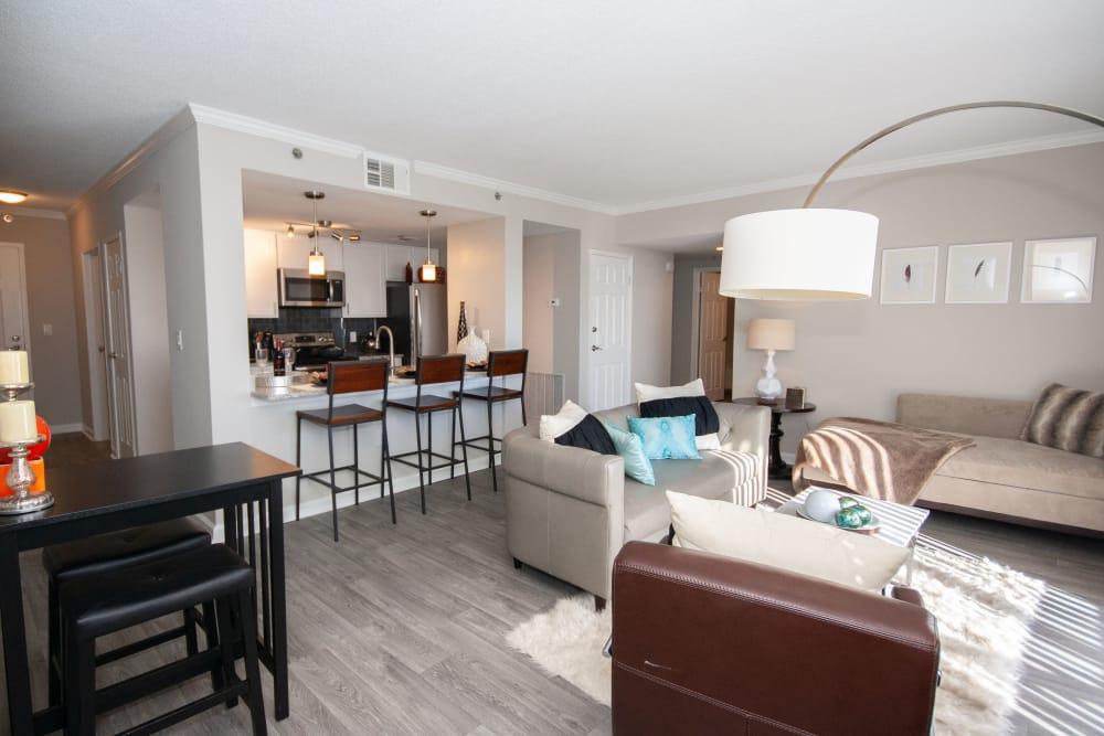 Living room amenities at The Eva
