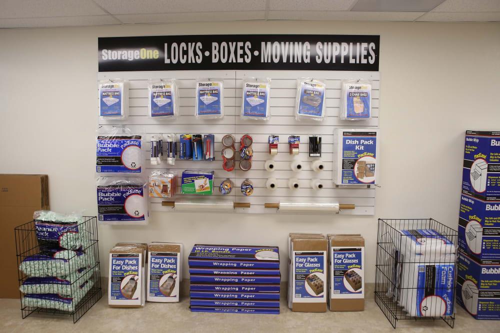 Supplies sold at StorageOne Blue Diamond & Decatur in Las Vegas, Nevada