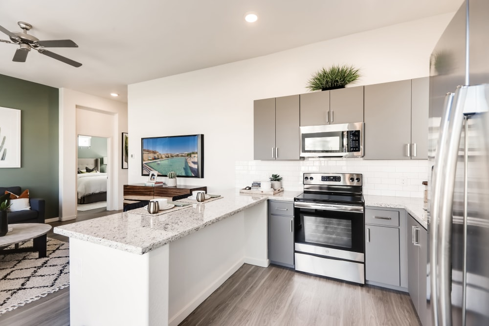 Stainless-steel appliances at Avilla Enclave in Mesa, Arizona
