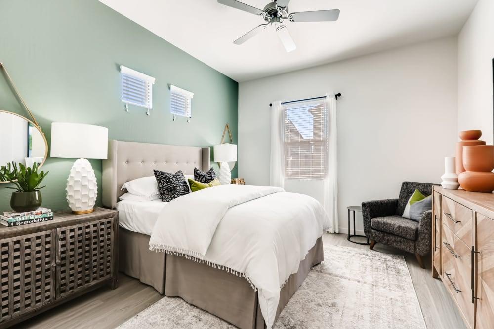 Well-lit bedroom at Avilla Enclave in Mesa, Arizona