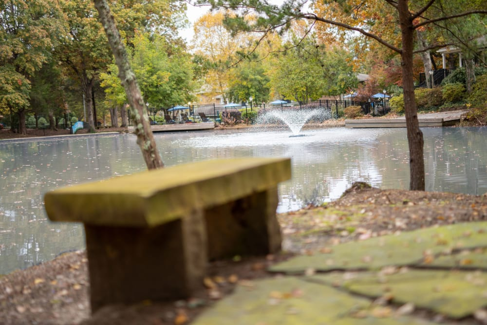 A beautiful pond with a fountain at The Corners at Crystal Lake in Winston Salem, North Carolina
