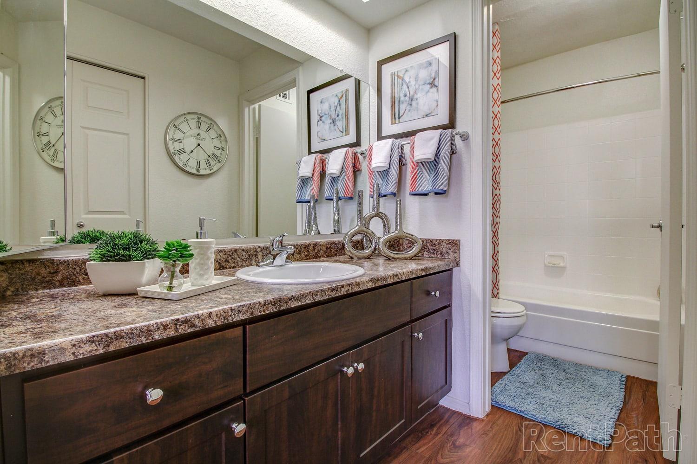 Large bathroom at Casa Santa Fe Apartments in Scottsdale, Arizona