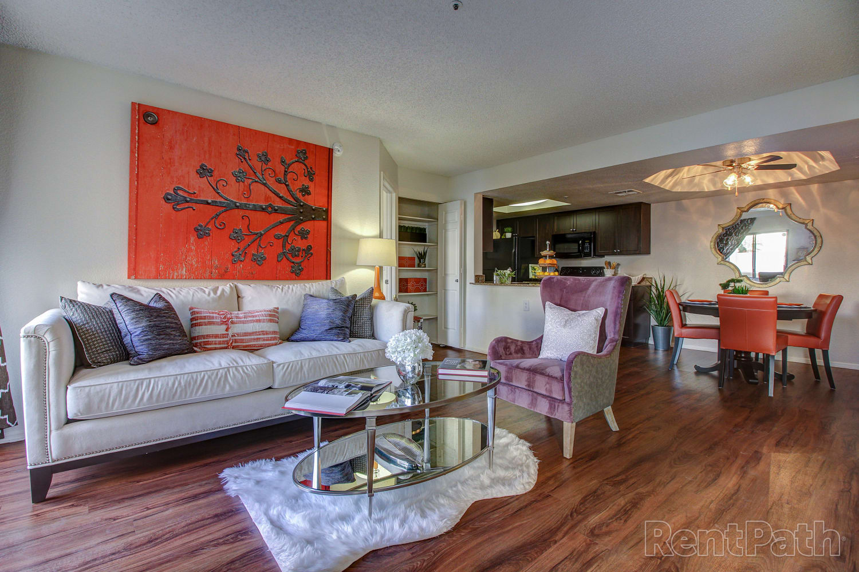 Spacious living room at Casa Santa Fe Apartments in Scottsdale, Arizona