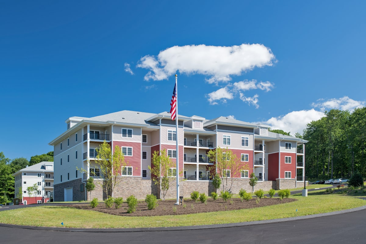 The building exterior at Keystone Place at Wooster Heights in Danbury, Connecticut