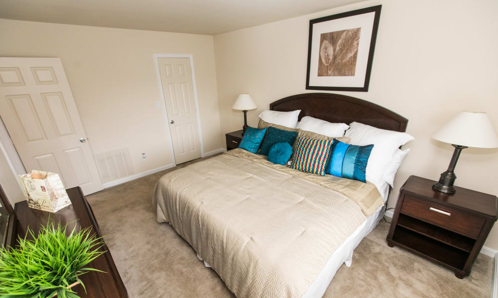 Sunlit bedroom at Chesapeake Glen Apartment Homes in Glen Burnie, MD