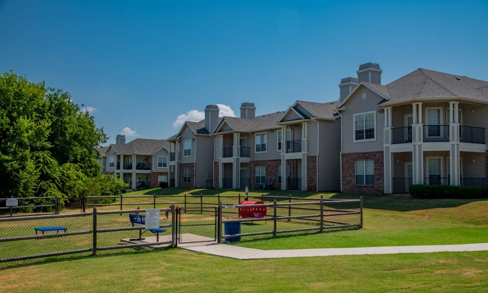 Onsite bark park at Prairie Springs in Oklahoma City, Oklahoma