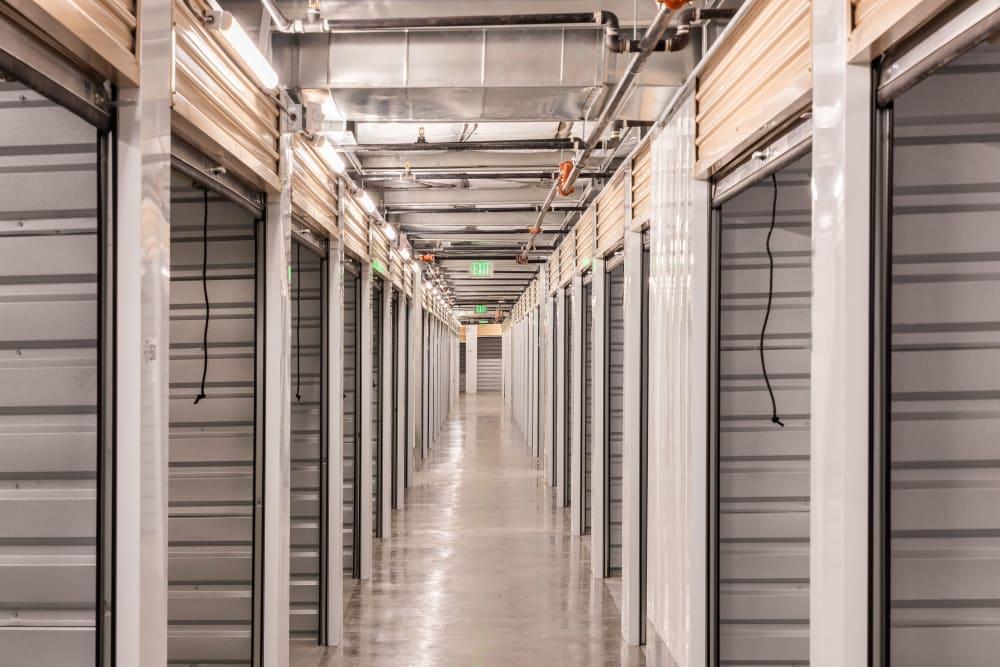 A row of storage units at Cubes Self Storage in Draper, Utah