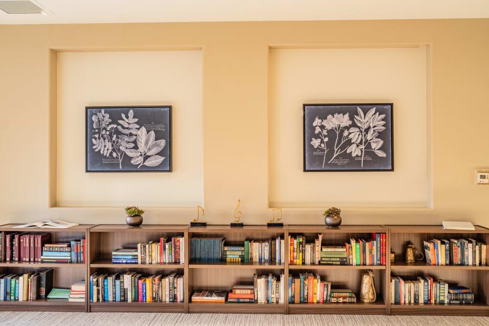 Reading room at Carefield Pleasanton in Pleasanton, California.