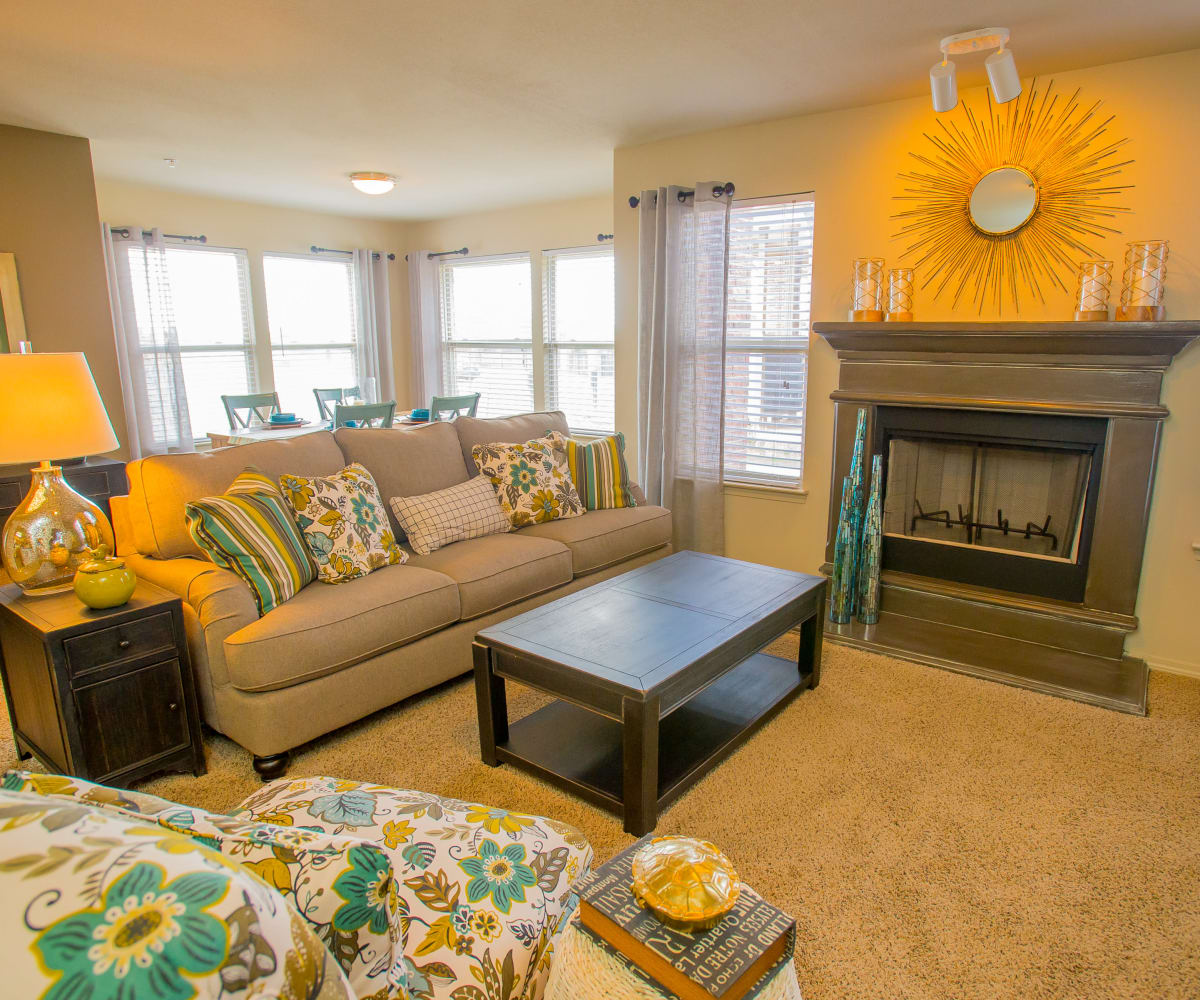 Bright living room at Icon at Norman in Norman, Oklahoma